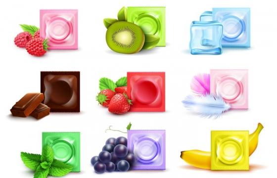 搭配各种水果味的避孕套图片免抠素材