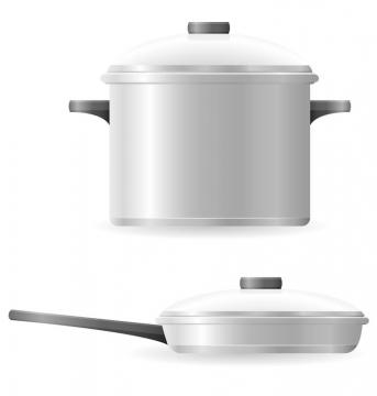 银色的高压锅汤锅和平底锅厨具免抠矢量图片素材