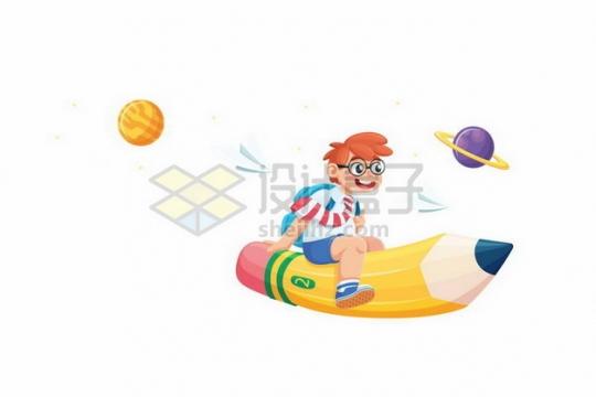卡通学生坐在黄色铅笔火箭上在太空中飞行png图片素材