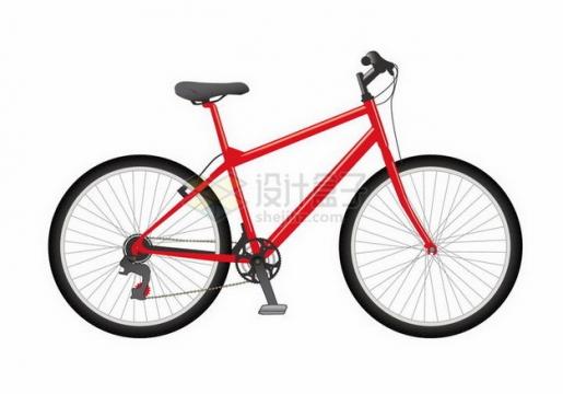 红色的自行车侧面图png图片免抠矢量素材