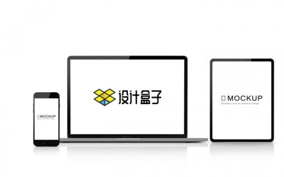 一字排开的苹果iPhone手机MacBook Pro笔记本电脑和iPad Pro平板电脑显示样机图片设计模板素材