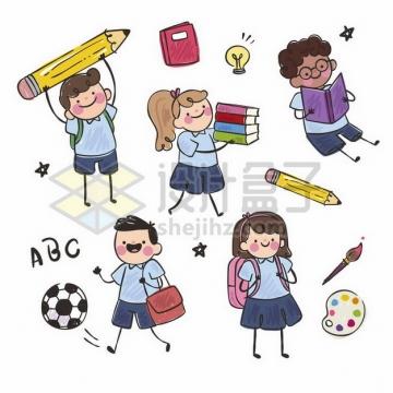 5款卡通学生拿着巨大的铅笔书本书包等手绘儿童插画png图片素材