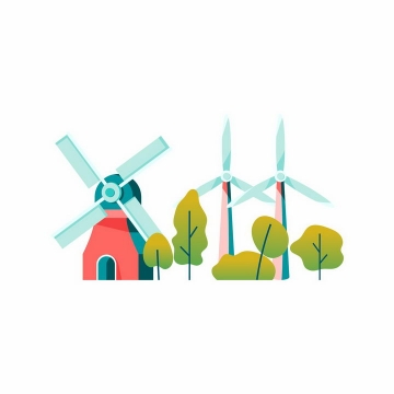 扁平插画风格大风车和风力发电机png图片免抠矢量素材