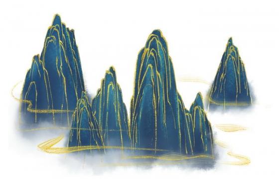 带有金丝装饰的深蓝色高山风景图图片免抠png素材