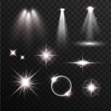 各种白色的光晕光线灯光效果图片免抠矢量图素材