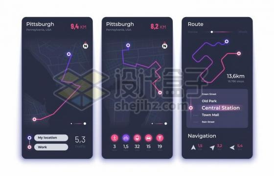 三款唯美风格的地图路线图等手机APP数据图表png图片免抠矢量素材
