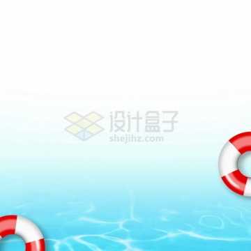 夏天的热带蓝色水面效果和救生圈8434362png图片素材