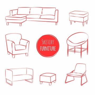 各种红色线条素描风格沙发家具png图片免抠矢量素材