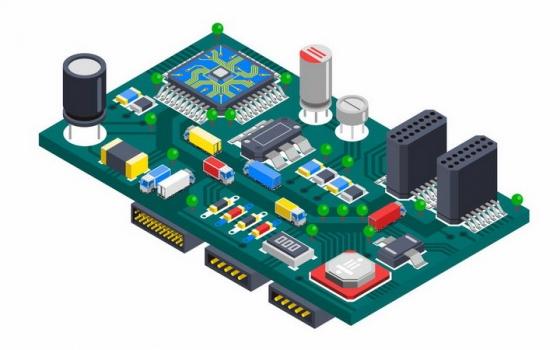 2.5D风格一块电脑主板上的各种电子元件png图片免抠矢量素材