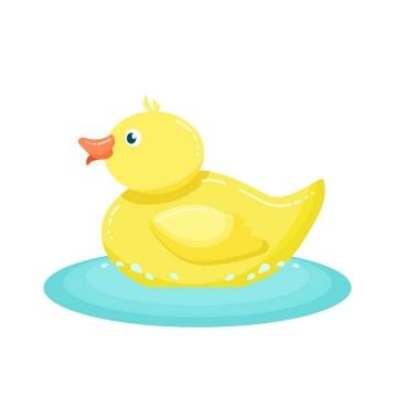 在蓝色水面上的卡通小黄鸭玩具图片免抠矢量素材