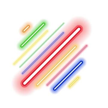 彩色发光斜线条装饰图片免抠素材