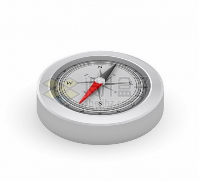 3D立体金属银色指南针指北针923470png图片素材