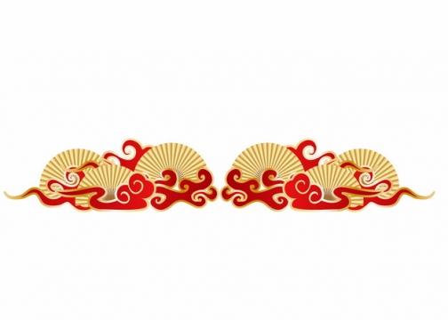 中国风金色扇子和祥云图案304758AI矢量图片免抠素材