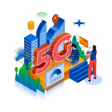 2.5D风格商务人士正在使用5G通信技术应用png图片素材