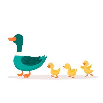 卡通鸭子妈妈带着小黄鸭图片免抠矢量素材