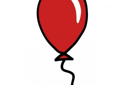 极简手绘涂鸦风格红色气球图片免抠素材
