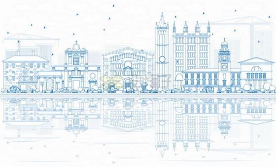 意大利帕尔马蓝色线条城市天际线png图片素材