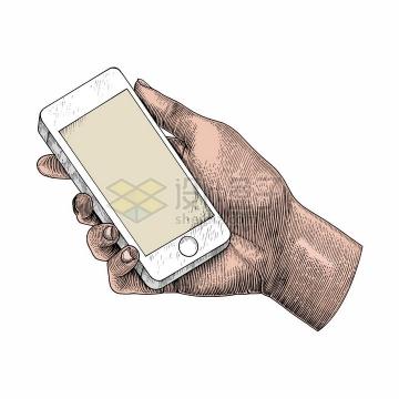 拿着手机的手彩色手绘素描插画png图片免抠矢量素材