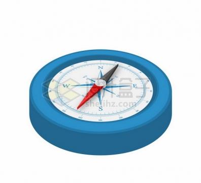 蓝色表盘的3D立体金属银色指南针指北针348798png图片素材