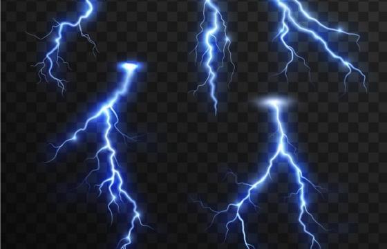 5款蓝紫色闪电图案效果图片免抠矢量图素材