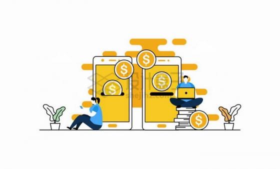 黄色扁平插画两个智能手机间的资金流动象征了手机移动支付功能png图片免抠矢量素材