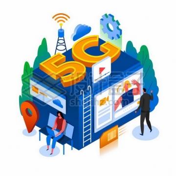 2.5D风格5G通信技术的应用深入到我们日常生活中png图片素材