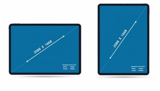 苹果iPad Pro平板电脑对角线尺寸示意图png图片免抠矢量素材