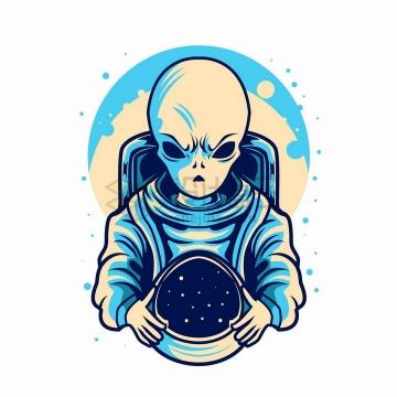 外星人摘掉了航天头盔抽象漫画插画png图片免抠矢量素材