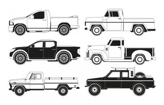 6种黑白色风格皮卡小汽车侧视图图片免抠矢量素材