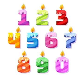 斜条纹糖果色生日数字蜡烛图片免抠素材