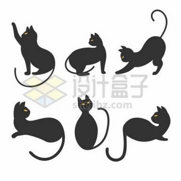 6款黄色眼睛的猫咪剪影png图片素材