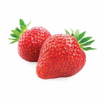 两颗红色奶油草莓png图片素材