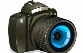黑色的卡通风格数码单反照相机png图片免抠矢量素材