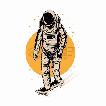 宇航员玩滑板抽象漫画插画png图片免抠矢量素材