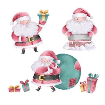 3款手绘插画风格圣诞节圣诞老人图片免抠矢量素材