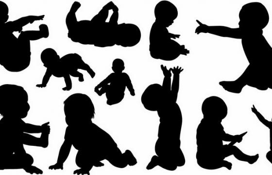 可爱的小宝宝婴儿剪影png图片免抠矢量素材