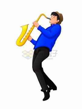 吹萨克斯音乐乐器的年轻人png图片免抠矢量素材