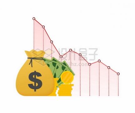 金币钞票和不断下降的红色折线金融危机315255png图片素材