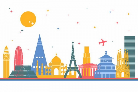 扁平化风格彩色世界各大知名建筑城市天际线png图片免抠矢量素材