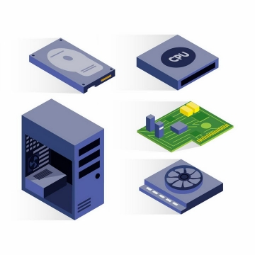 2.5D风格电脑硬盘CPU处理器电脑主机等电脑配件png图片免抠矢量素材