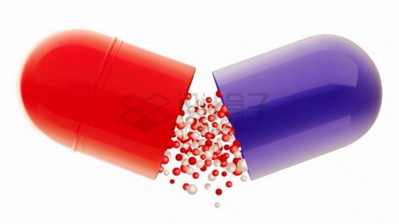 打开的红色紫色胶囊和药物颗粒png图片素材