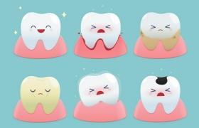 6款超可爱的卡通牙齿和蛀牙png图片免抠矢量素材