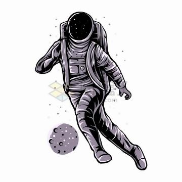 宇航员把一颗星球当足球踢抽象漫画插画png图片免抠矢量素材