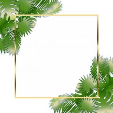 热带绿叶树叶装饰的金色边框475197png图片素材