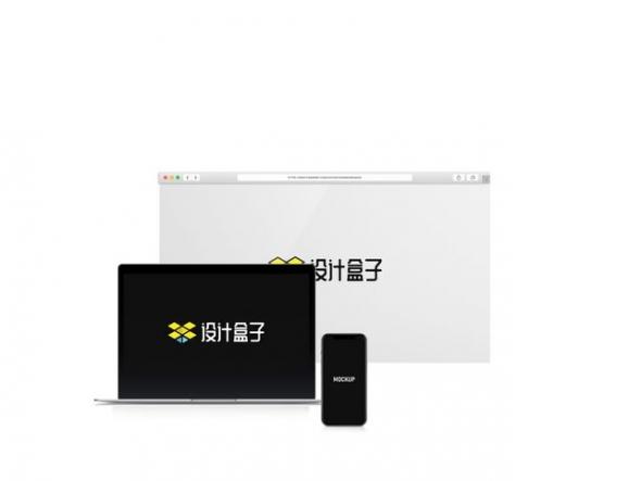 苹果MacBook Pro笔记本电脑iPhone手机和浏览器网页展示样机图片设计模板素材