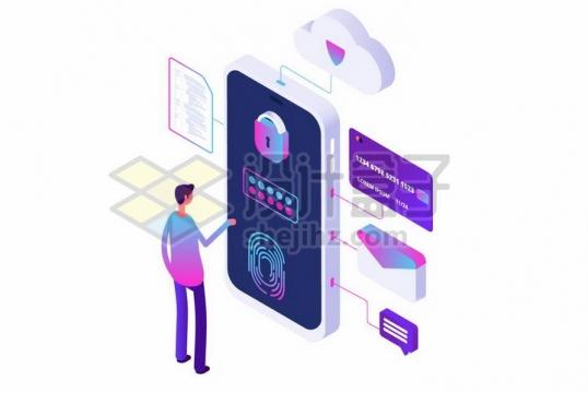 2.5D风格指纹识别手机安全加密技术png图片免抠矢量素材