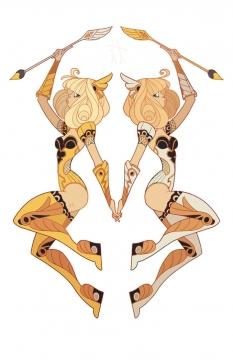 金色双子座星座图片免抠素材