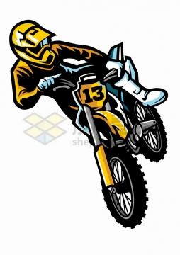 卡通漫画风格黄色的越野摩托车特技png图片免抠矢量素材