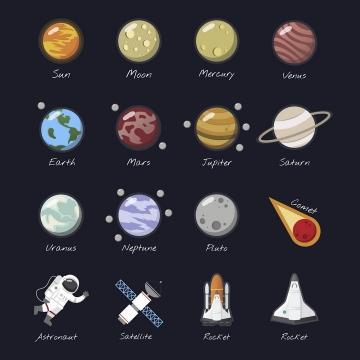 扁平化风格太阳系八大行星和流星宇航员卫星等天文科普图片免抠素材