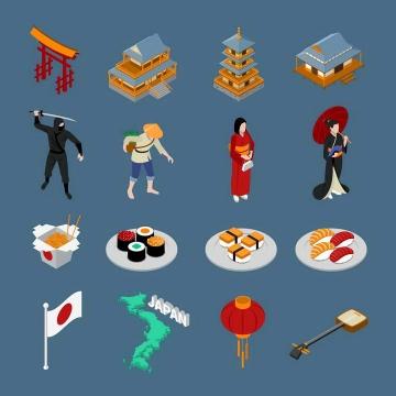 16款2.5D风格地标建筑传统美食民族服饰等日本旅游图标图片免抠素材